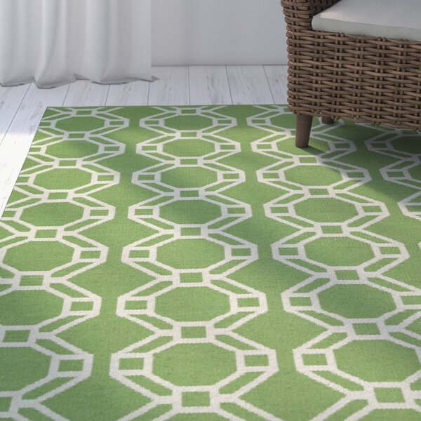 Fowler Lime Green & Cream Indoor/Outdoor Area Rug by Beachcrest Home