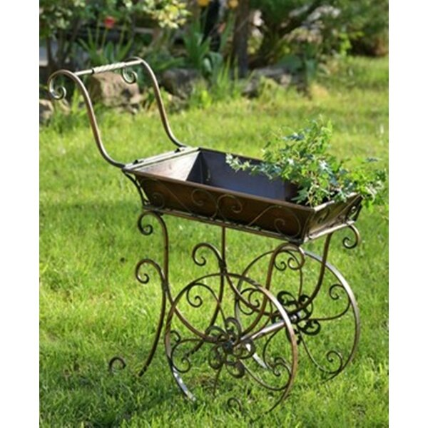 Wilmer Iron Flower Cart Wheelbarrow Planter by Fleur De Lis Living