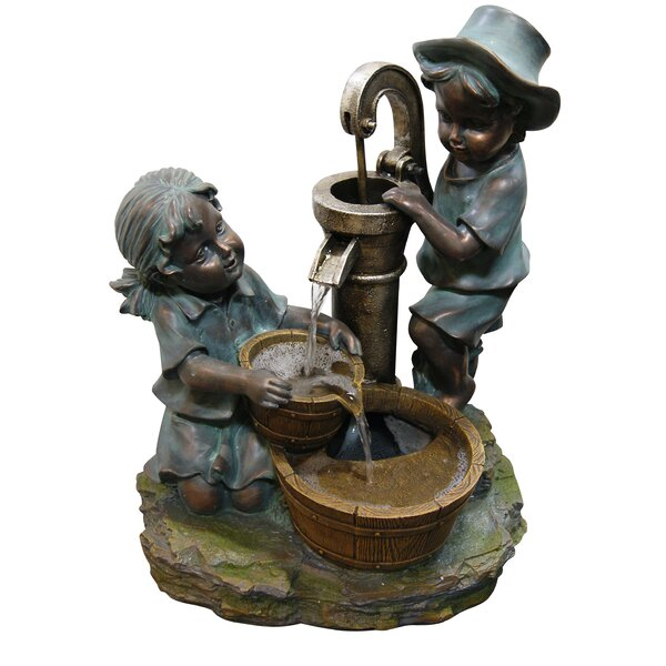 Polyresin and Stone Boy and Girl Fetching Water Sculptural Fountain by Woodland Imports