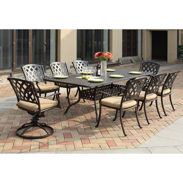 Campton Contemporary 9 Piece Metal Frame Dining Set With Cushion By Fleur De Lis Living