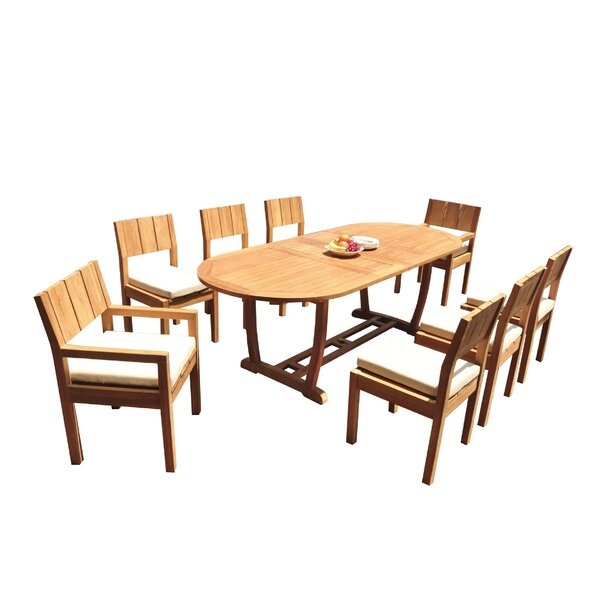 Stephan 9 Piece Teak Dining Set by Rosecliff Heights