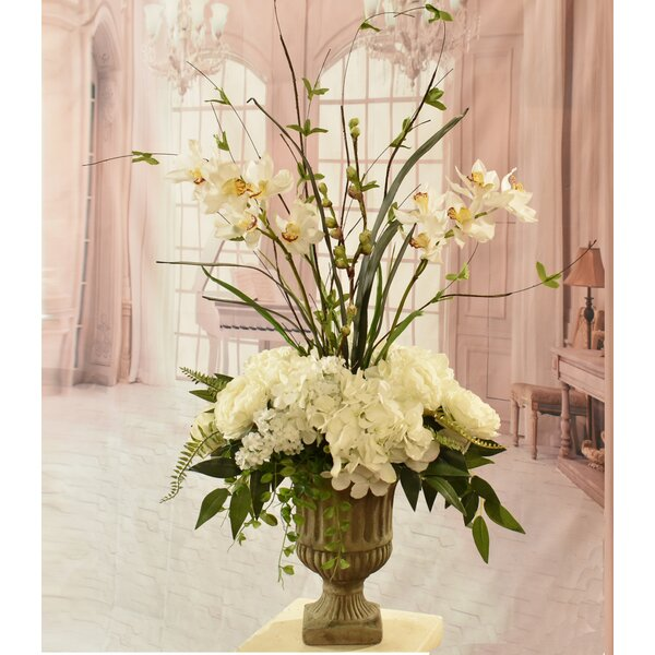 Silk Hydrangea and Orchid Floral Arrangement In Decorative Vase by Rosdorf Park