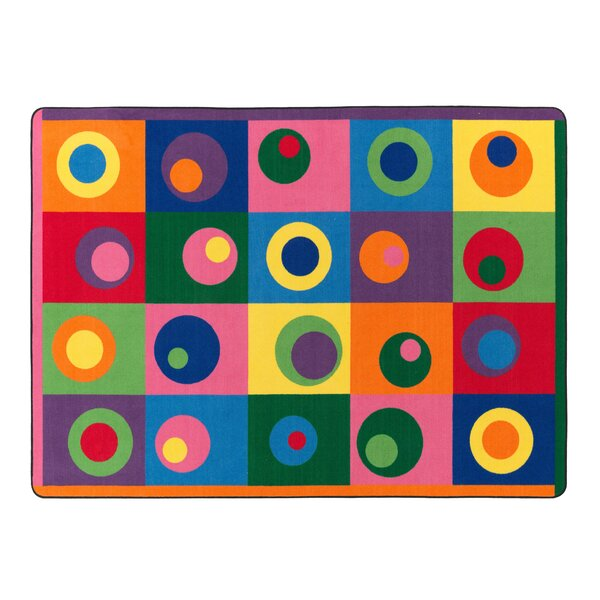Silly Circles Blue/Yellow Area Rug by Flagship Carpets