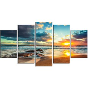 'Beautiful Cloudscape Over the Sea' 5 Piece Photographic Print on Wrapped Canvas Set by Design Art