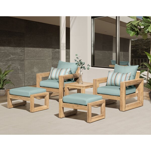 Jasmyn 5 Piece Sunbrella Multiple Chairs Seating Group with Sunbrella Cushions by Longshore Tides