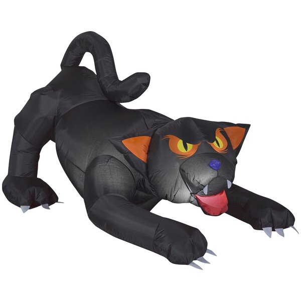 Animated Evil Eyed Cat Inflatable with Turning Head by The Holiday Aisle