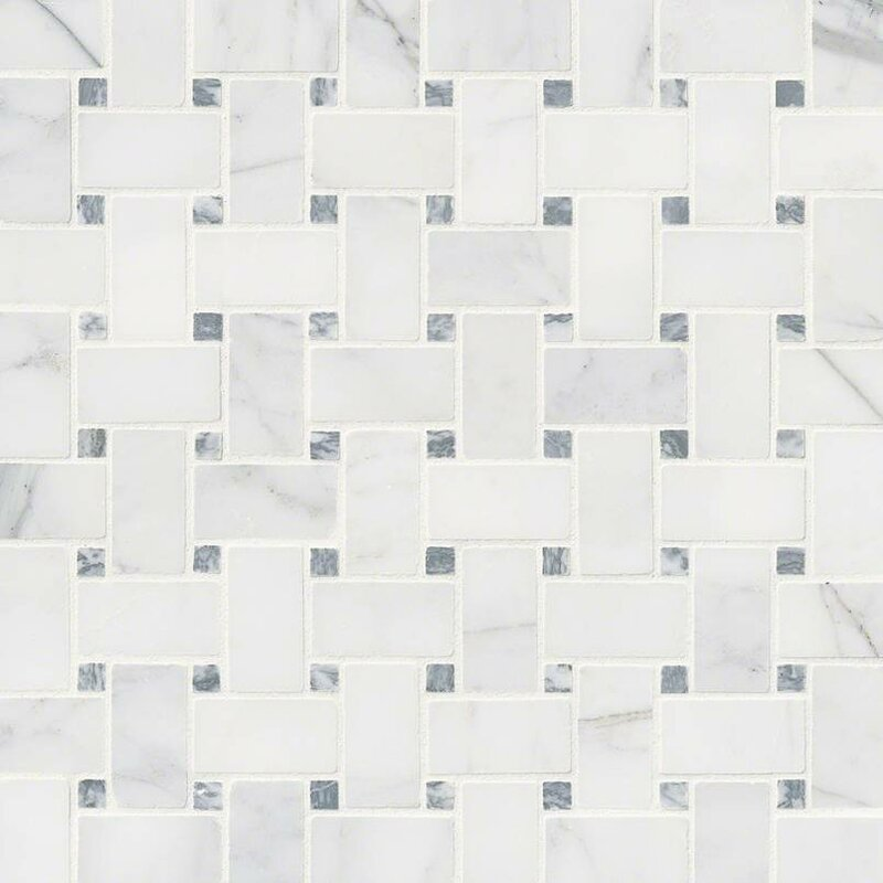 Le Basketweave Honed Marble Mosaic Tile In White