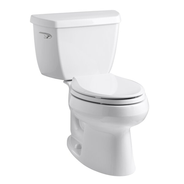 Wellworth Classic Two-Piece Elongated 1.28 GPF Toilet with Class Five Flush Technology and Left-Hand Trip Lever by Kohler