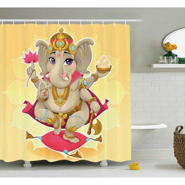 Browning Indian Elephant Cartoon Style Kids Decorations With Asian Sun Yoga Lotus Flower Design Shower Curtain by World Menagerie