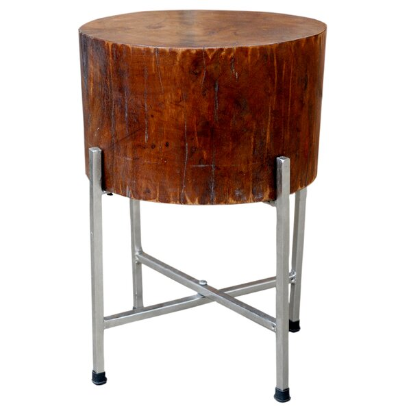 Solid Natural Wood Block Accent Table STAN with Cross-leg Silver Stand by Foreign Affairs Home Decor