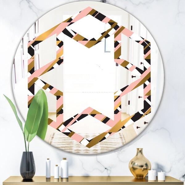 Checkered Pattern II Hexagon Star Modern & Contemporary Frameless Wall Mirror