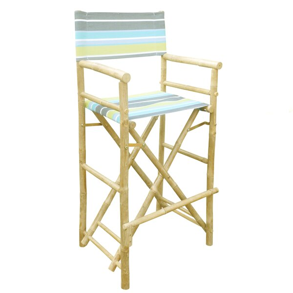 Dessie Bamboo 32 Counter Chair Patio Bar Stool (Set of 2) by Highland Dunes