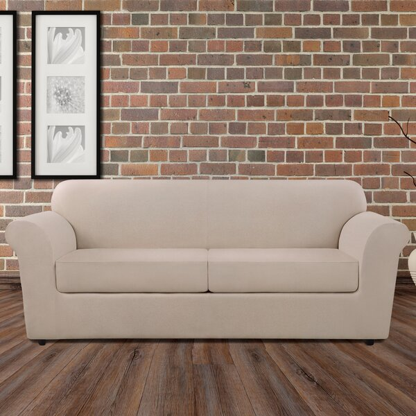 Ultimate Heavyweight Stretch Leather 3 Piece Box Cushion Sofa Slipcover Set By Sure Fit