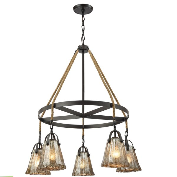 Marjane 5 - Light Shaded Wagon Wheel Chandelier With Rope Accents By Bungalow Rose