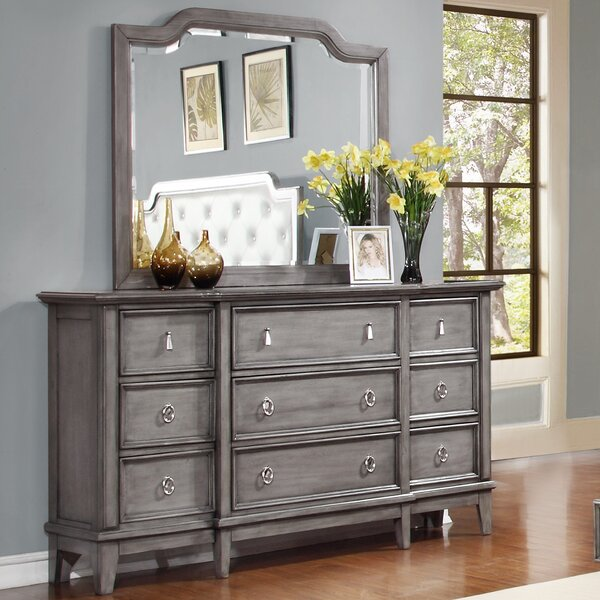 Palmisano 9 Drawer Dresser with Mirror by One Allium Way