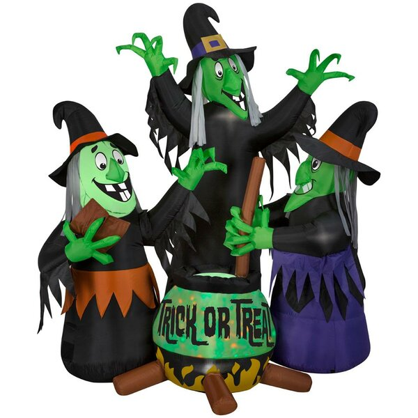 Animated Projection Fire & Ice Three Witches and Cauldron Inflatable with Sound by The Holiday Aisle