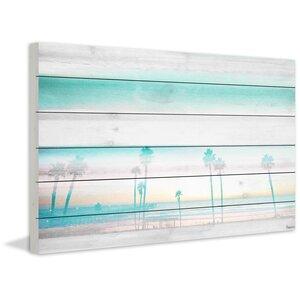 'Hazy Beach' by Parvez Taj Painting Print on White Wood by Beachcrest Home