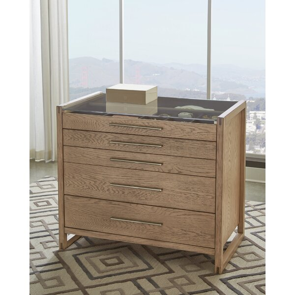 cornelio 5-Drawer Rectangular Floating Chest Grey Oak by Orren Ellis