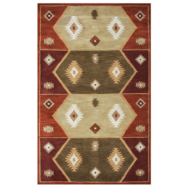 Hand-Tufted Gray/Red Area Rug by The Conestoga Trading Co.