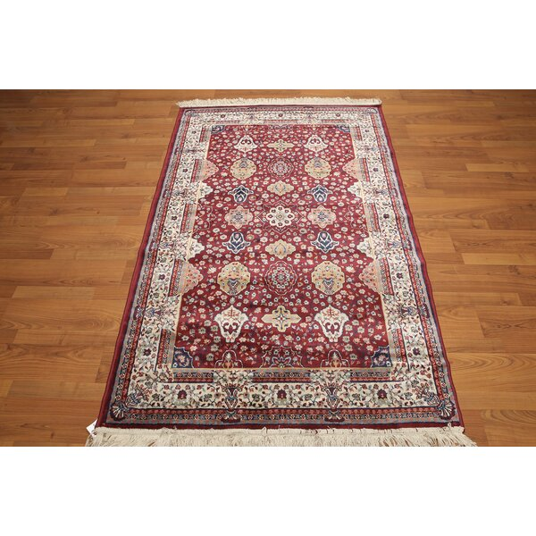One-of-a-Kind Gloucester Hand-Knotted Silk Red/Blue Area Rug by Canora Grey