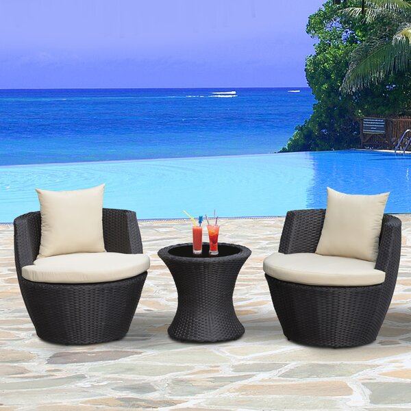 Chad Outdoor 3 Piece Rattan Seating Group with Cushions by Orren Ellis