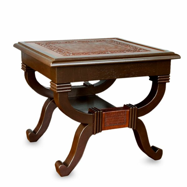 Fern Garland Mohena Wood and Leather End Table by Novica