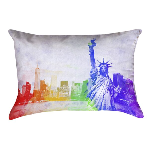 Houck Watercolor Statue of Liberty Waterproof Outdoor Lumbar Pillow by Brayden Studio