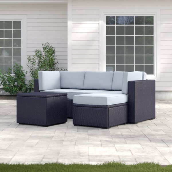 Seaton 4 Piece Rattan Sectional Seating Group with Cushions