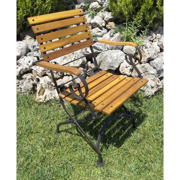 European Grande Café Folding Teak Patio Dining Chair (Set of 2) by Furniture Designhouse