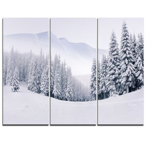 Foggy Winter Mountain and Trees - 3 Piece Photographic Print on Wrapped Canvas Set by Design Art