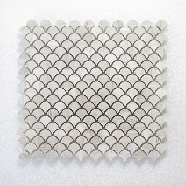 NovaWeave Athens and Oyster Wall Polished 12 x 12 Natural Stone Mosaic Tile in White by Seven Seas