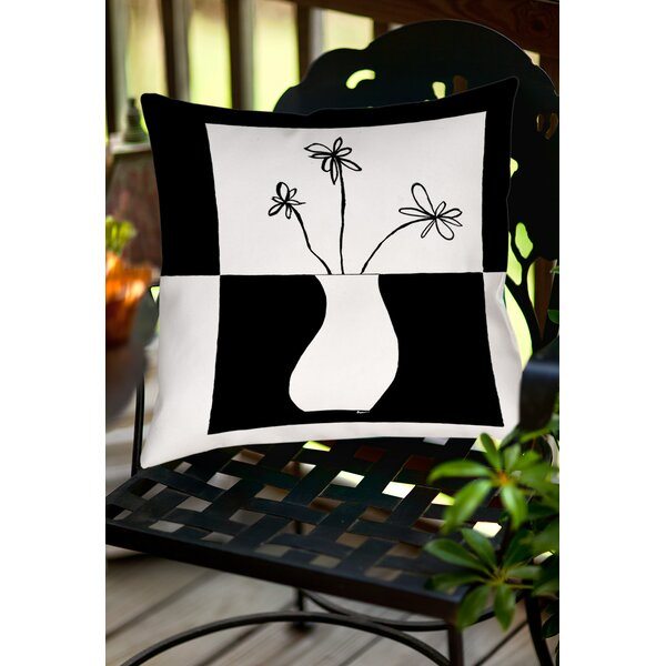 Minimalist Flower in Vase Indoor/Outdoor Throw Pillow by Manual Woodworkers & Weavers
