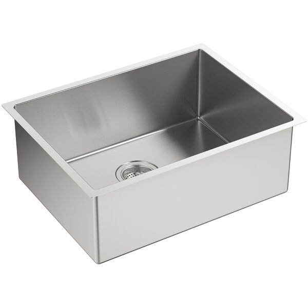 Strive 24 L x 18-1/4 W x 9-5/16 Under-Mount Single Bowl Kitchen Sink with Basin Rack by Kohler