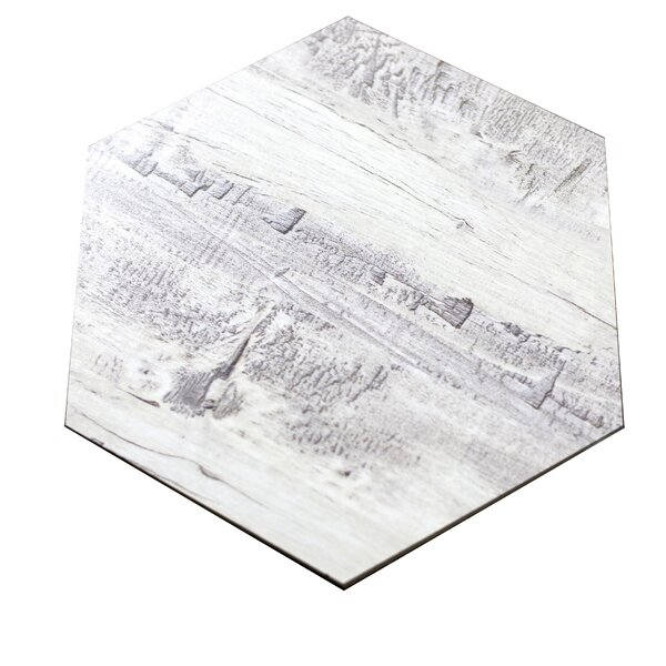 Nature 8 X 8 Glass Hexagon Tile In Birchwood Gray/creme By Abolos.