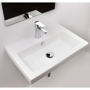 Deals 40 Ceramic 24 Wall Mount Bathroom Sink with Overflow By Ceramica Tecla by Nameeks