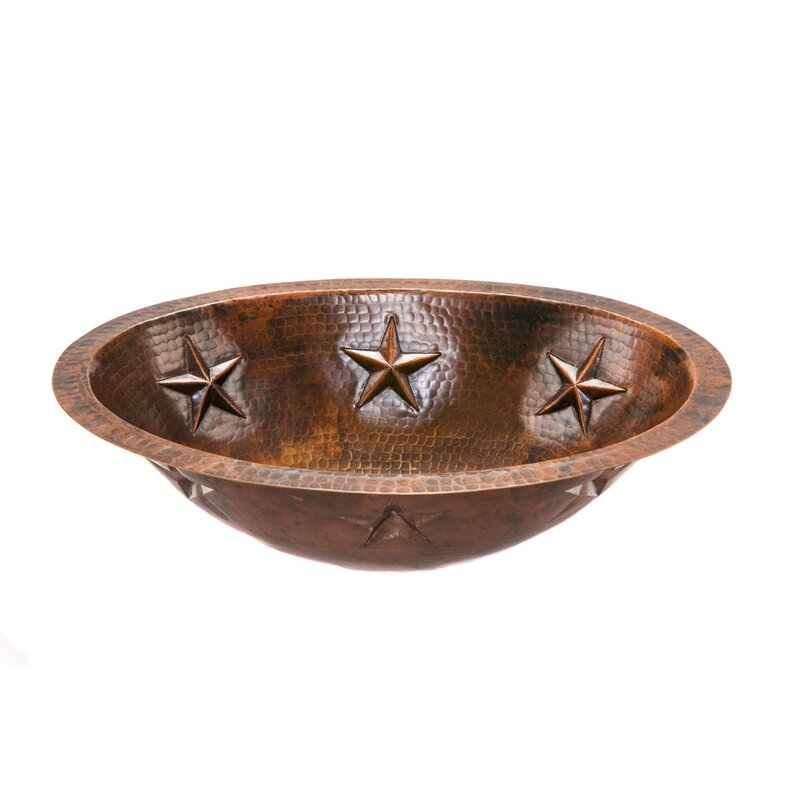 Premier Copper Products Star Hammered Copper Oval Undermount