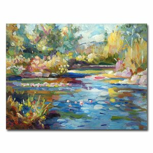 Summer Pond by David Lloyd Glover Framed Painting Print on Wrapped Canvas by Trademark Fine Art