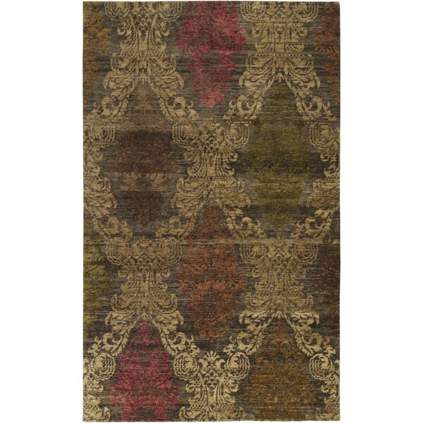 Urrutia Hand-Knotted Brown Area Rug by Bungalow Rose