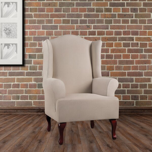 Compare Price Ultimate Heavyweight Stretch Leather T-Cushion Wingback Slipcover