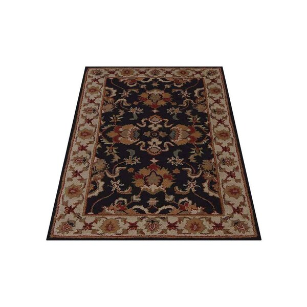 Thor Vintage Hand-Tufted Wool Black/Cream Area Rug by Astoria Grand