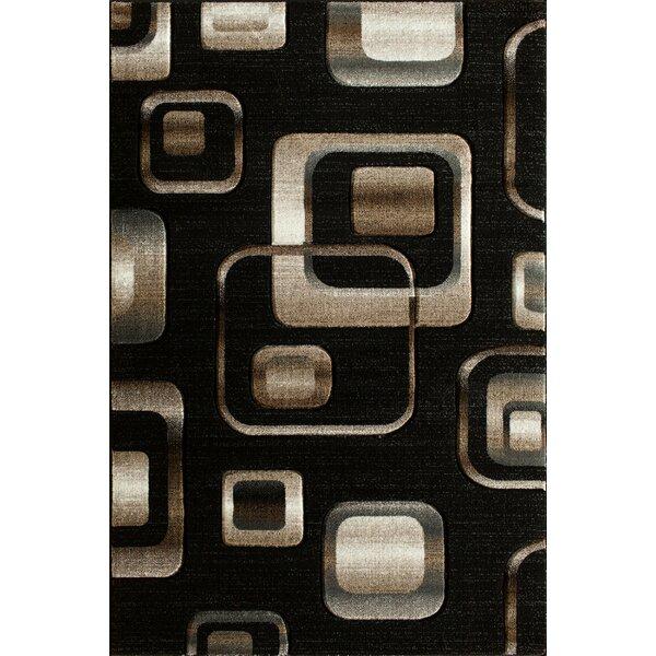 Lina Hand Carved Squares Black Area Rug by Winston Porter
