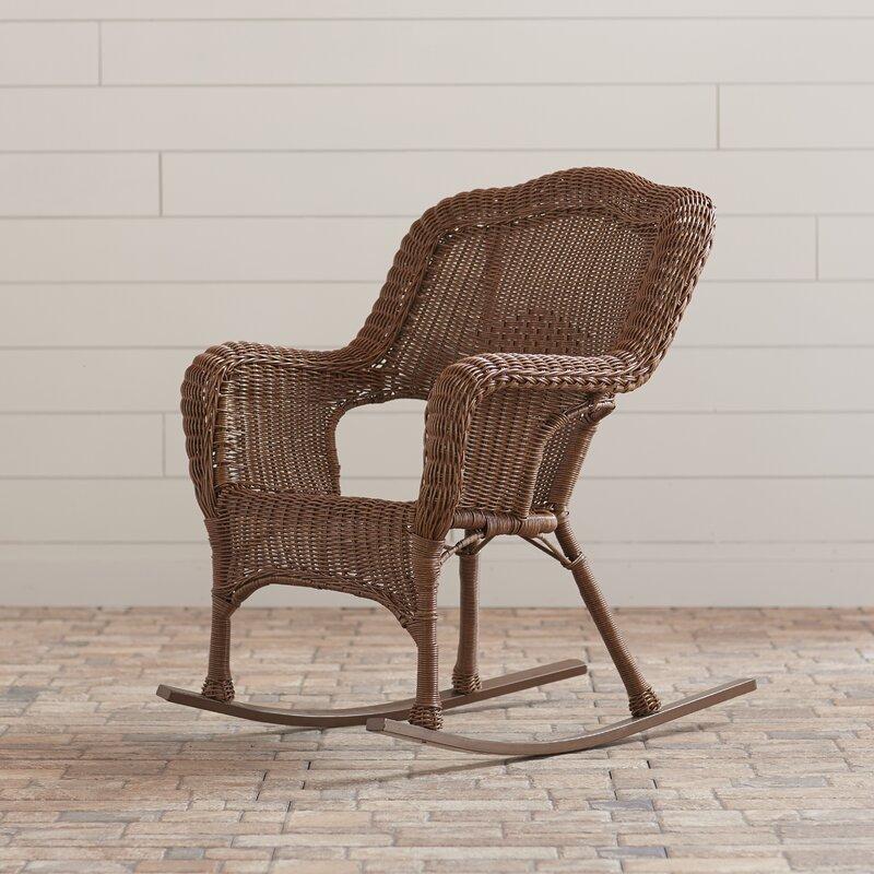 Lark Manor Narron Wicker Resin Outdoor Rocking Chair ...