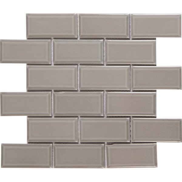 Glazed Mesh Mounted 2 x 4 Beveled Ceramic Mosaic Tile in Gray by MSI