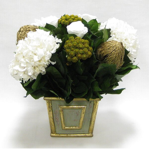 Mixed Floral Centerpiece in Wooden Mini Square Container by Canora Grey