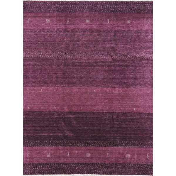 One-of-a-Kind Gabbeh Hand-Knotted Wool Lilac Area Rug by Bokara Rug Co., Inc.