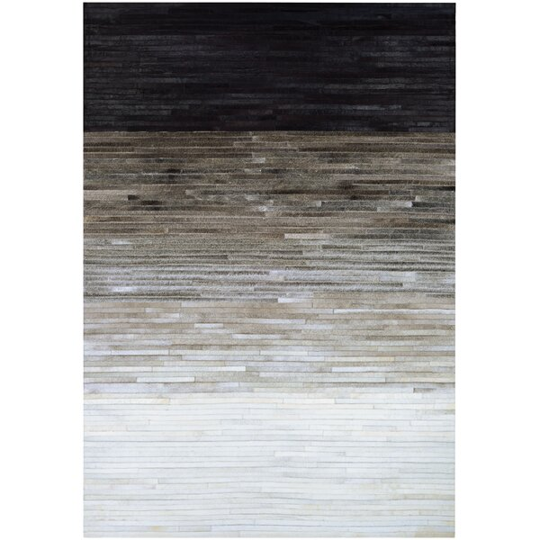 Ashlie Flat woven Cowhide Black/Gray Area Rug by Union Rustic