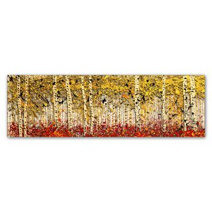 Fall PanorAspens by Roderick Stevens Painting Print on Wrapped Canvas by Trademark Fine Art