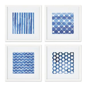 Textile Print Study 4 Piece Framed Graphic Art Set by Breakwater Bay