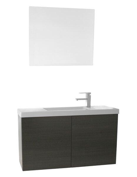Happy Day 38 Wall-Mounted Single Bathroom Vanity Set with Mirror by Nameeks Vanities
