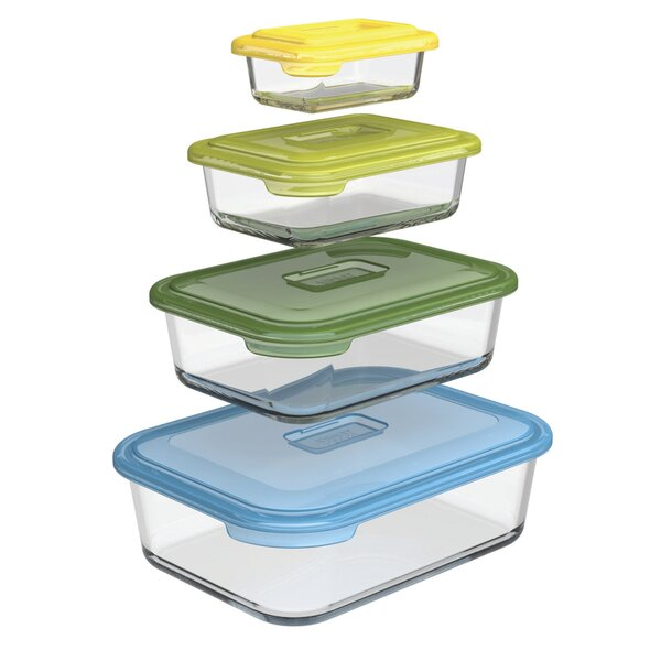 Nest Storage Glass 4-Container Food Storage Set by Joseph Joseph
